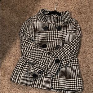 Houndstooth Black and White Coat